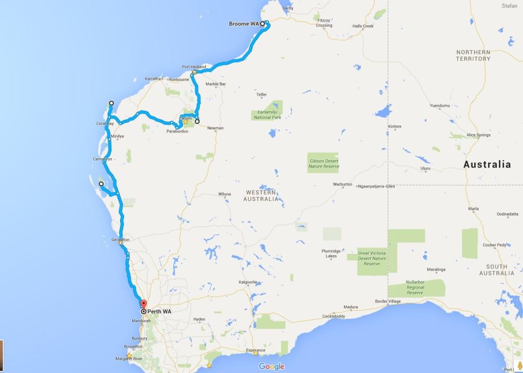 Karte Westaustralien